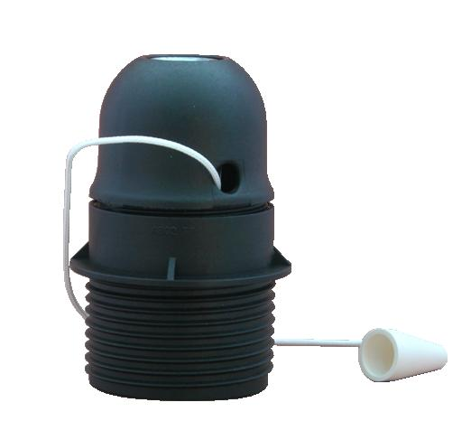 socket e27 demi-filetée noir avec interrupteur tirette - sa bosman nv